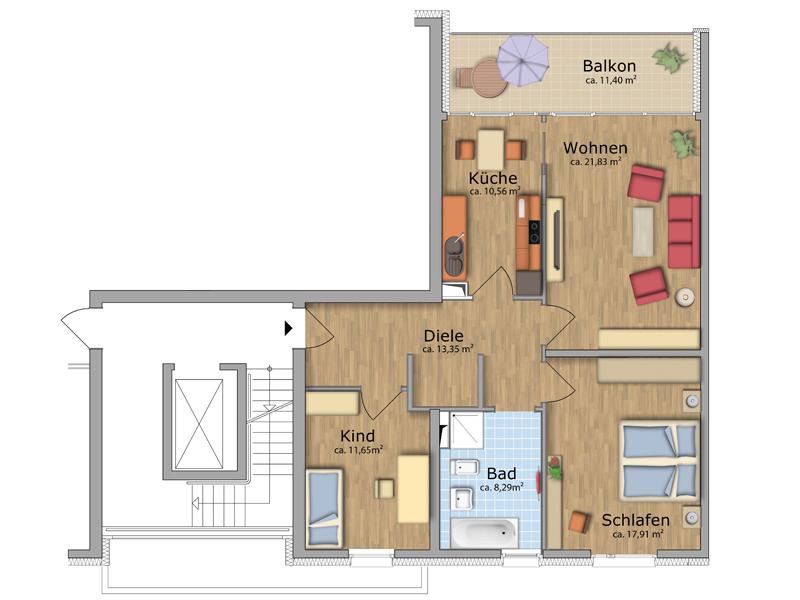 Grundriss wohnung 3 zimmer  Unsere Wohnungen