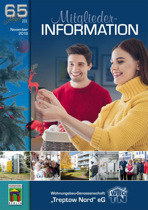 """Titelseite Mitglieder-Information November 2019 der WBG """"Treptow Nord"""" eG"""