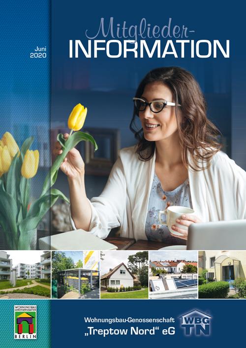 """Titelseite der Mitglieder-Information Juni 2020 der WBG """"Treptow Nord"""" eG"""