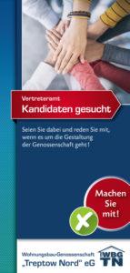 """Flyer Titelseite """"Vertreteramt – Kandidaten gesucht"""" der WBG """"Treptow Nord"""""""